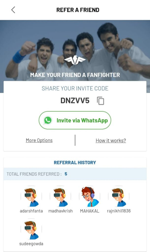 Fanfight Refer Code : Get Rs 100 Playing Cash Welcome Bonus 13