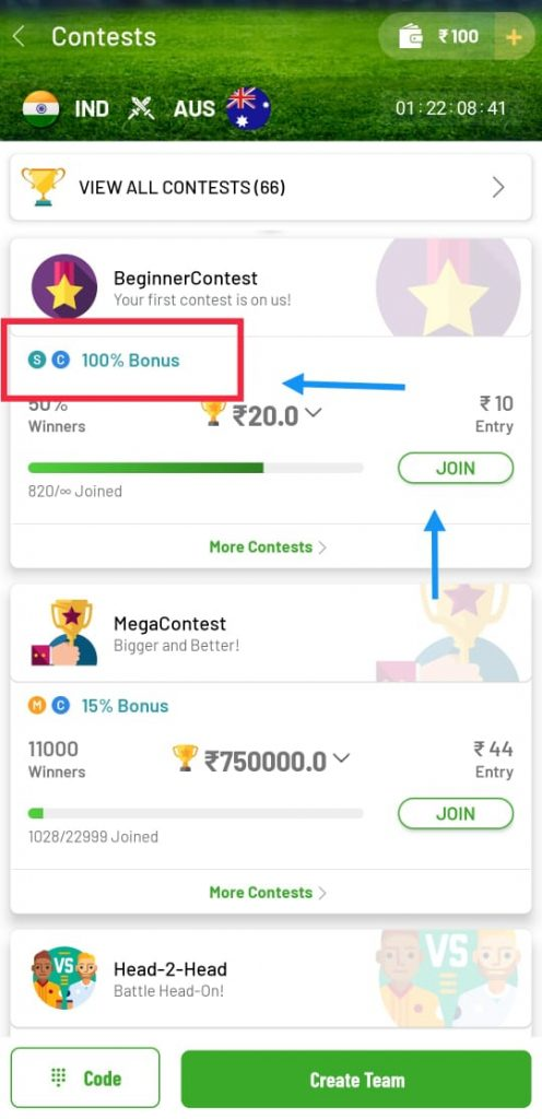 Fanfight Refer Code : Get Rs 100 Playing Cash Welcome Bonus 10