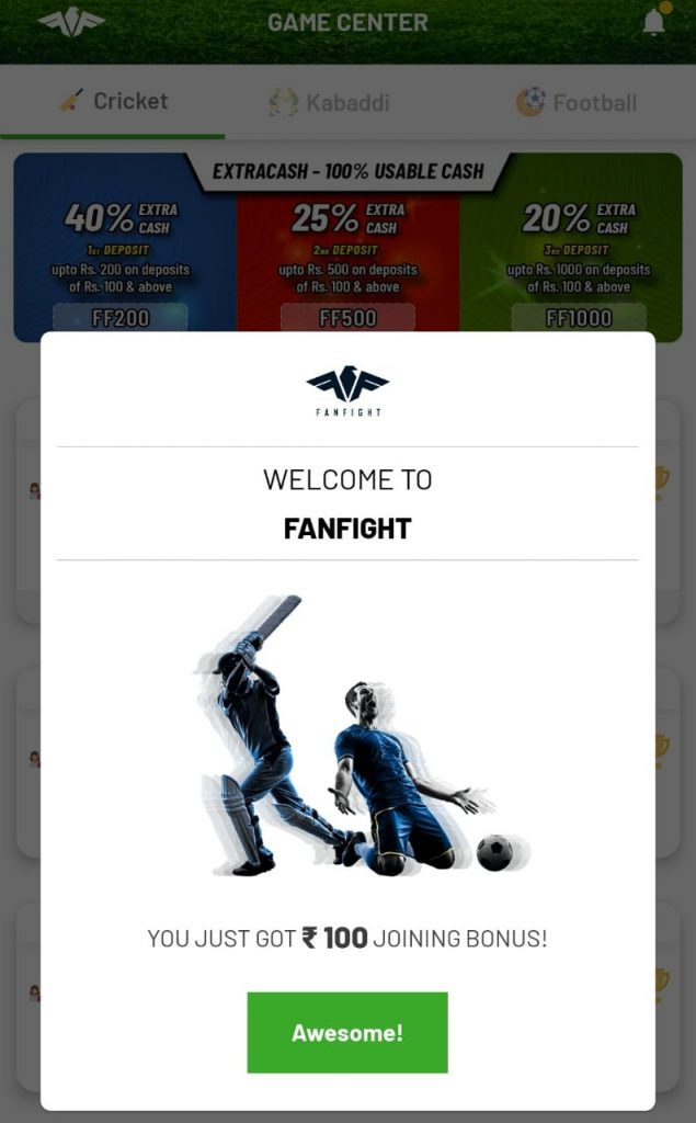 Fanfight Refer Code : Get Rs 100 Playing Cash Welcome Bonus 7