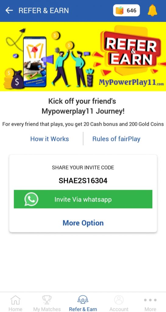 MyPowerPlay11 referral code