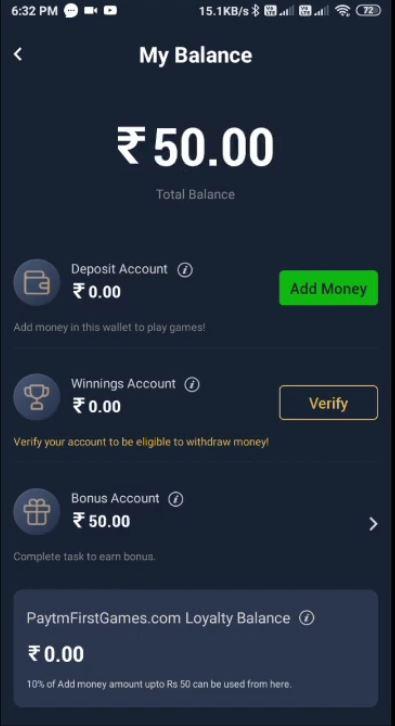 Paytm First Game Rs. 50 Bonus