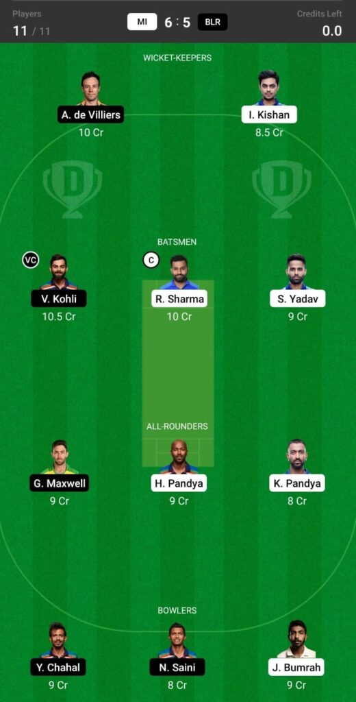 MI vs RCB Match 1 Dream11 Team Prediction